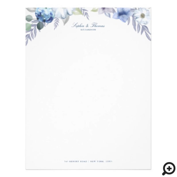 French Blue & Lavender Watercolor Floral Wedding Letterhead