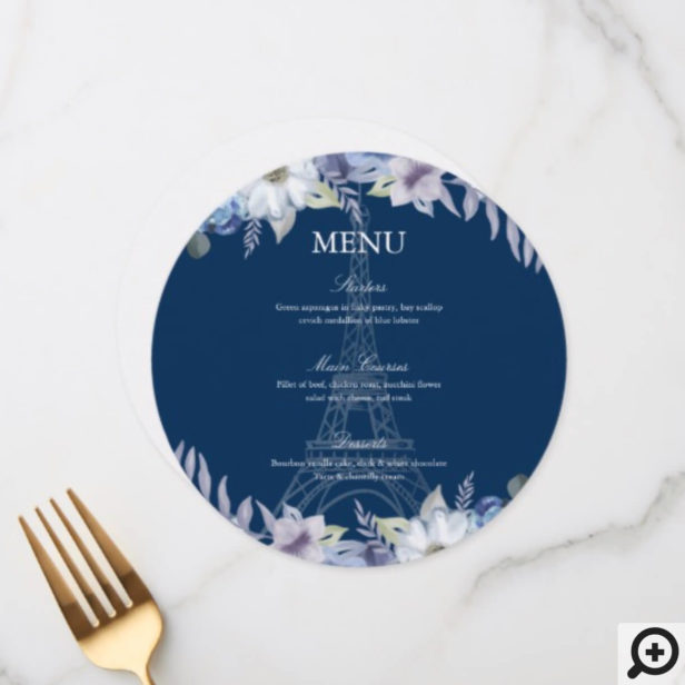 Paris Eiffel Tower Watercolor Floral Navy Wedding Menu