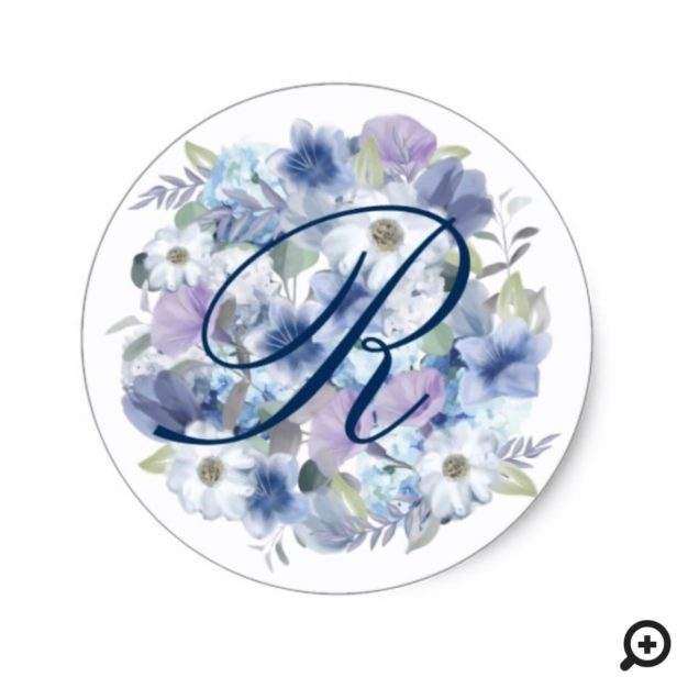French Blue & Lavender Watercolor Floral Wedding Classic Round Sticker
