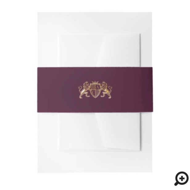 Game of Thrones Inspired Royal Medieval Fantasy Lion Emblem Wedding Invitation Belly Band