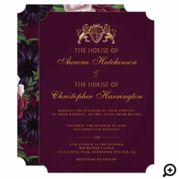Game of Thrones Inspired Medieval Fantasy Plum Floral Wedding Invitation