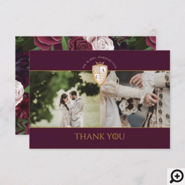Game of Thrones Inspired Royal Medieval Fantasy Shield Floral Wedding Thank You Card