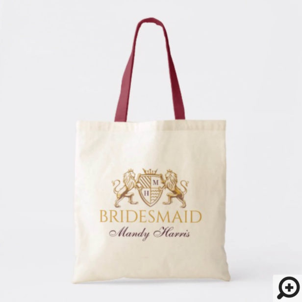 Game of Thrones Inspired Royal Medieval Fantasy Lion Emblem Wedding Tote Bag