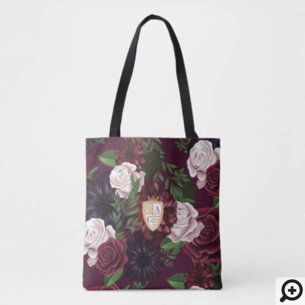 Game of Thrones Inspired Royal Medieval Fantasy Crest & Floral Wedding Tote Bag