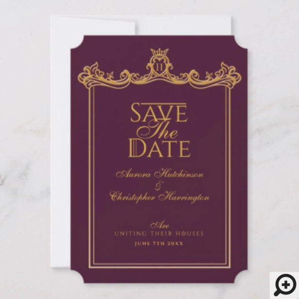 Game of Thrones Inspired Medieval Fantasy Ornate Plum Wedding Save The Date