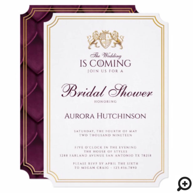 Game of Thrones Inspired Royal Fantasy Dragon Scale Bridal Shower Invitation