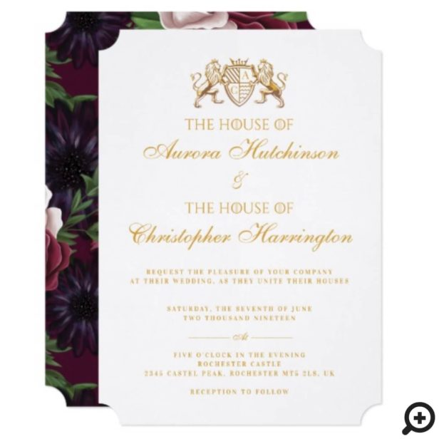 Game of Thrones Inspired Medieval Fantasy White Floral Wedding Invitation