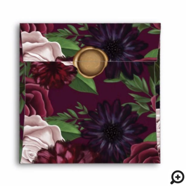 Game of Thrones Inspired Royal Medieval Fantasy Plum Floral Wedding Seal Envelope