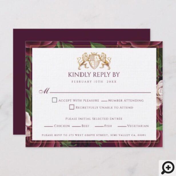 Game of Thrones Inspired Royal Medieval Lion Crest & Floral Wedding RSVP Card