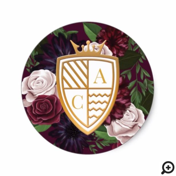 Game of Thrones Inspired Royal Muse Medieval Fantasy Crest & Floral Wedding Classic Round Sticker
