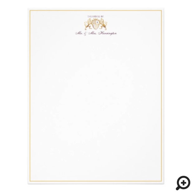 Game of Thrones Inspired Royal Medieval Lion Crest & Floral Wedding Letterhead
