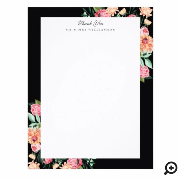 Timeless Watercolor Floral Wedding Thank You Letterhead