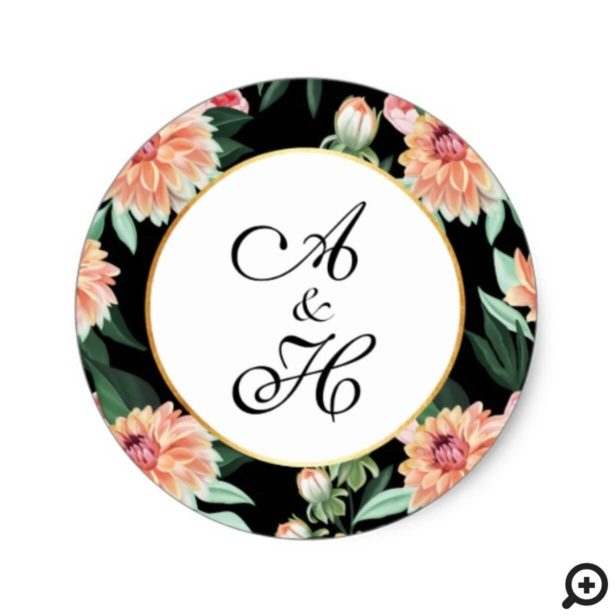 Timeless Watercolor Floral Wedding Monogram Classic Round Sticker