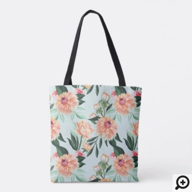 Timeless Blooms Vibrant Watercolor Florals Pattern Tote Bag