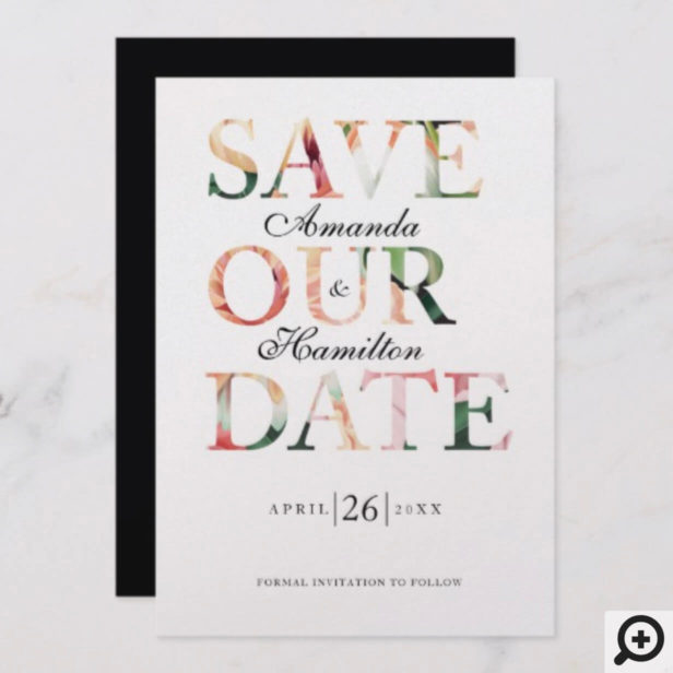 Timeless Blooms Vibrant Watercolor Floral Photo Save The Date