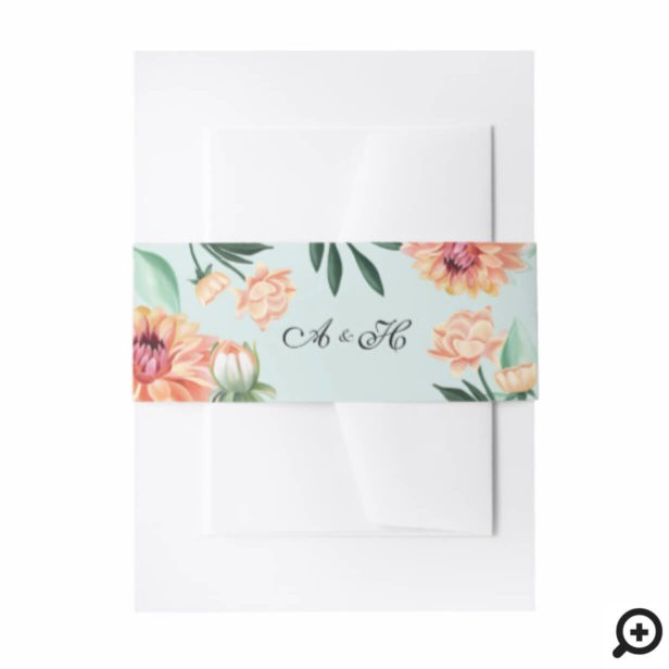 Timeless Blooms Vibrant Watercolor Floral Wedding Invitation Belly Band