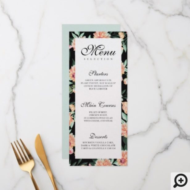 Timeless Blooms Vibrant Watercolor Florals Wedding Menu