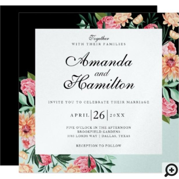 Timeless Blooms Vibrant Watercolor Florals Wedding Invitation