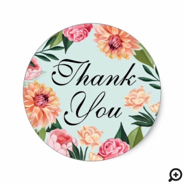 Timeless Watercolor Floral Wedding Thank You Classic Round Sticker