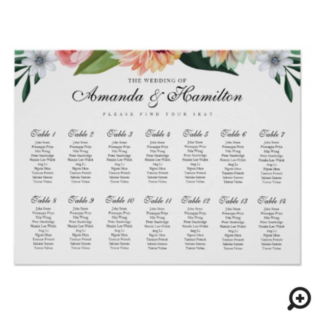Timeless Blooms Watercolor Florals Wedding Seating Poster