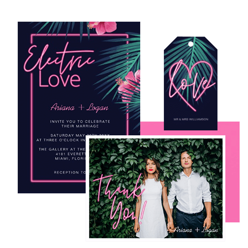 Electric Love Pink Neon Wedding Collection Suite