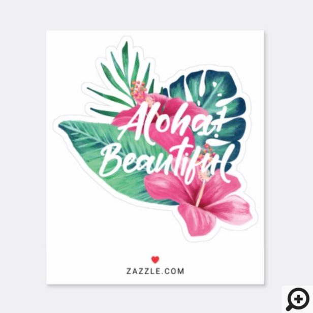 Aloha Beautiful Tropical Watercolor Palm Hibiscus Sticker