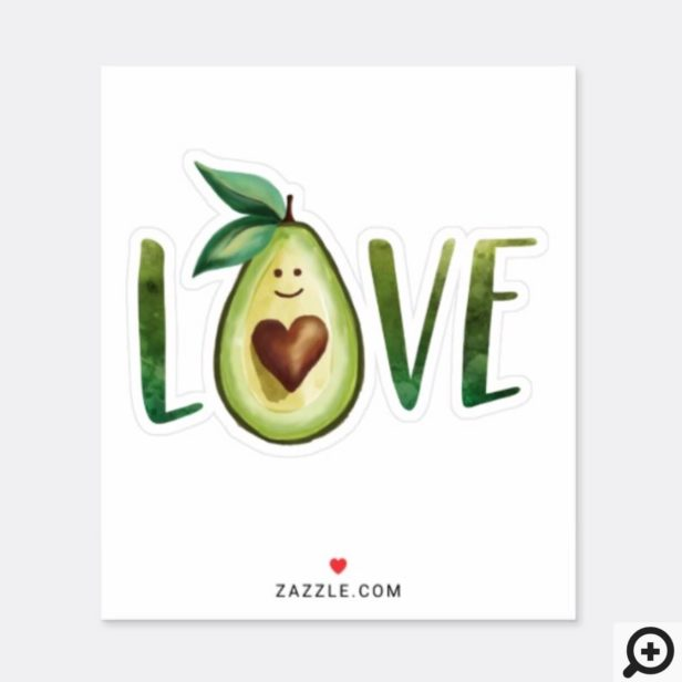 Avocado Love Watercolor Avaocado Heart Character Sticker