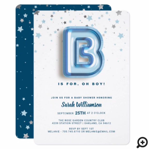 B is For Boy | Blue Foil Balloon Letter & Confetti Invitation