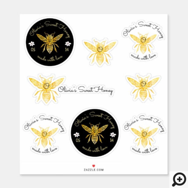 Bees & Bloom Floral Elegant & Decorative Honey Bee Sticker