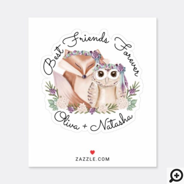 Best Friends Forever Watercolor Woodland Fox & Owl Sticker