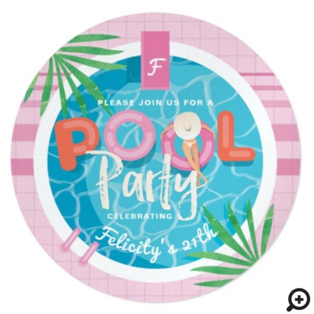Fun Tropical Pink & Blue Illustrative Pool Party Invitation