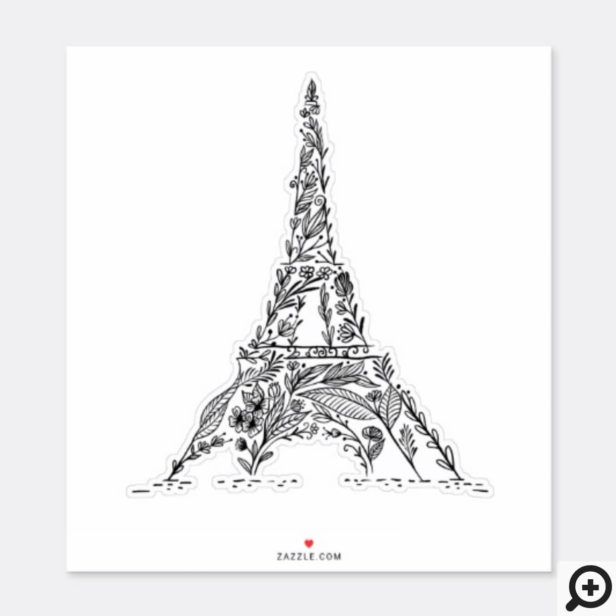 Black & White Floral Paris Eiffel Tower Sticker