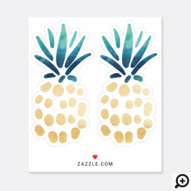 Blue, Teal & Gold Tropical Pineapple Fruit Sticker
