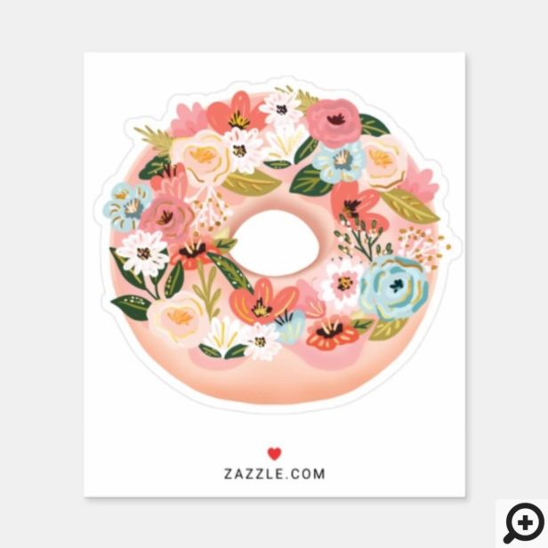 Blush Pink Floral Blossom Donut Sticker