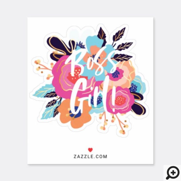 Boss Girl | Trendy Bold Florals & Brush Script Sticker