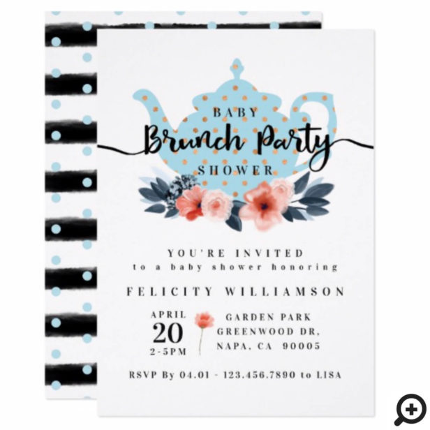 Chic Floral Bunch Party Boy Baby Shower Invitation