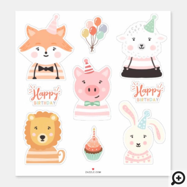 Cute Adorable Happy Birthday Party Animals Sticker