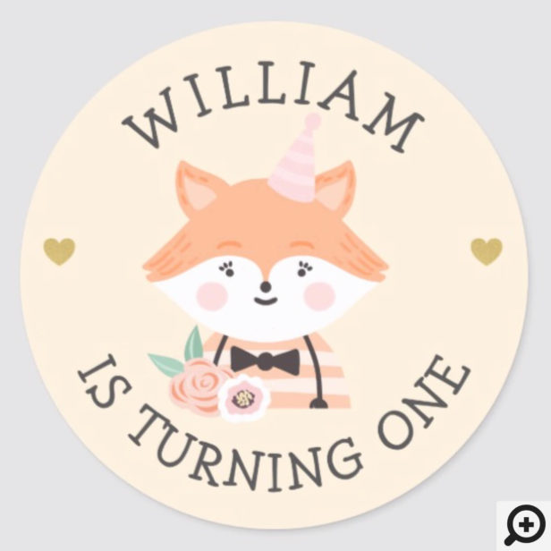 Cute Adorable baby Fox Party Animal Classic Round Sticker