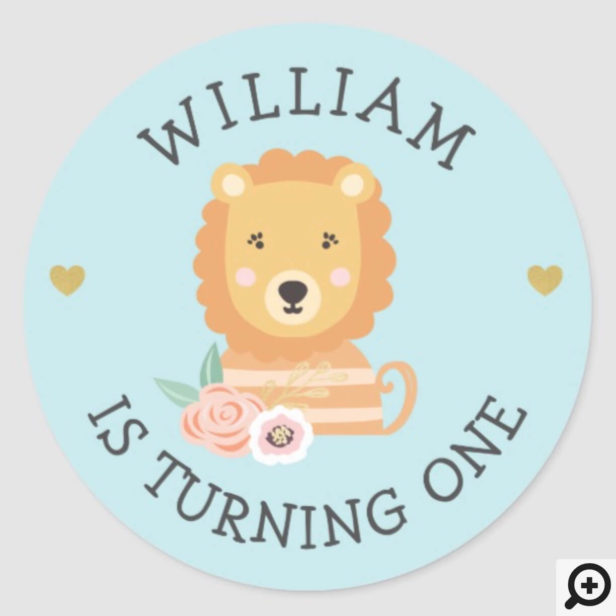 Cute Adorable baby Lion Party Animal Classic Round Sticker