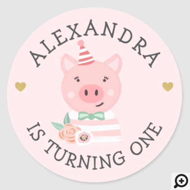Cute Adorable baby Piggy Party Animal Classic Round Sticker