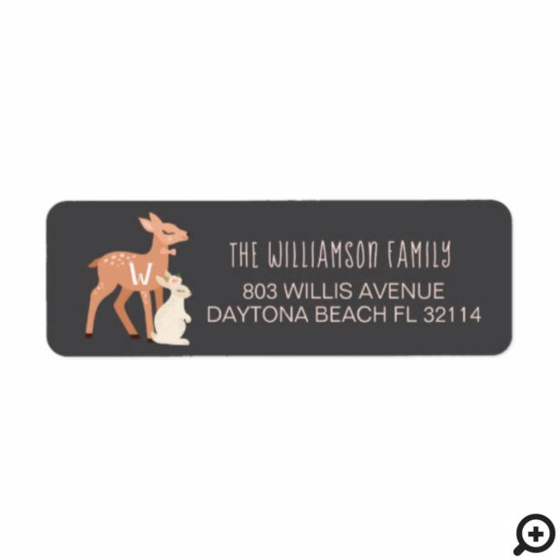 Cute Baby Woodland Deer & Rabbit Forest Animal Label