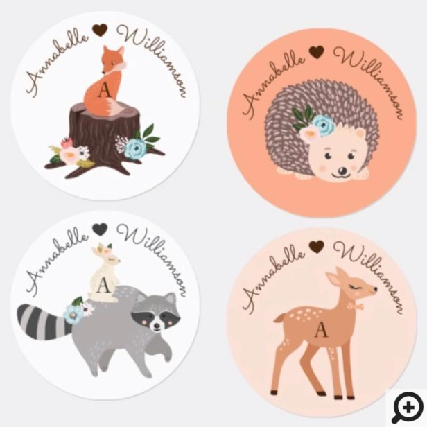 Cute Baby Woodland Forest Animals & Monogram Labels