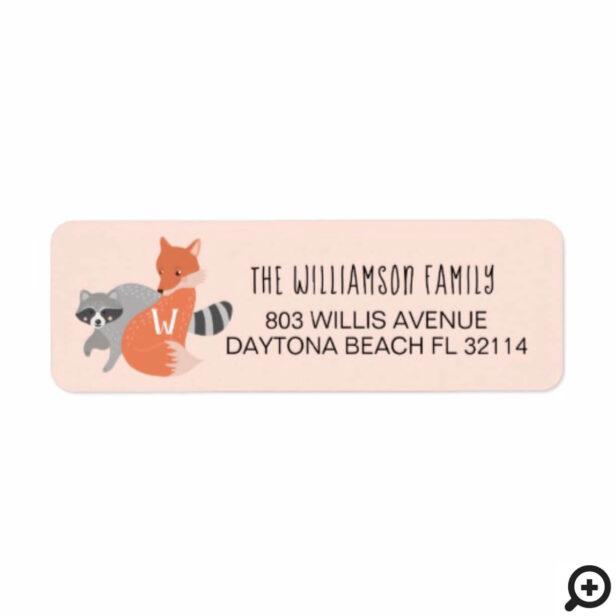 Cute Baby Woodland Fox & Raccoon Forest Animal Label