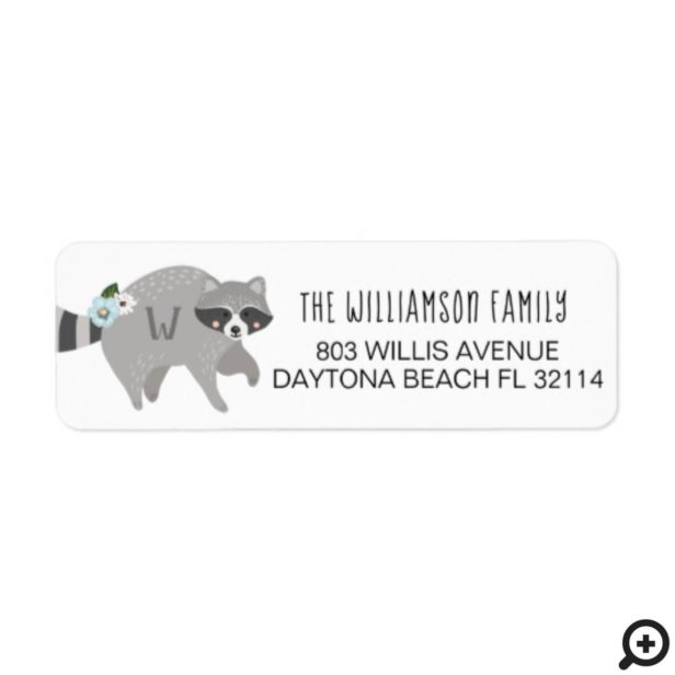 Cute Baby Woodland Raccoon Forest Animal Label