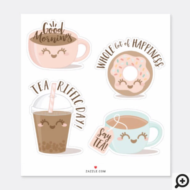 Cute Typographic Kawaii Style Tea, Coffee & Donut Sticker