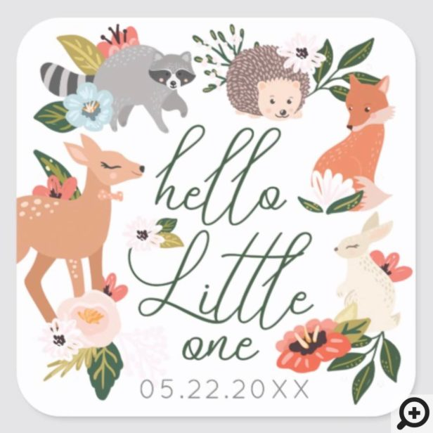 Cute Woodland Forest Animals Baby Shower Square Sticker