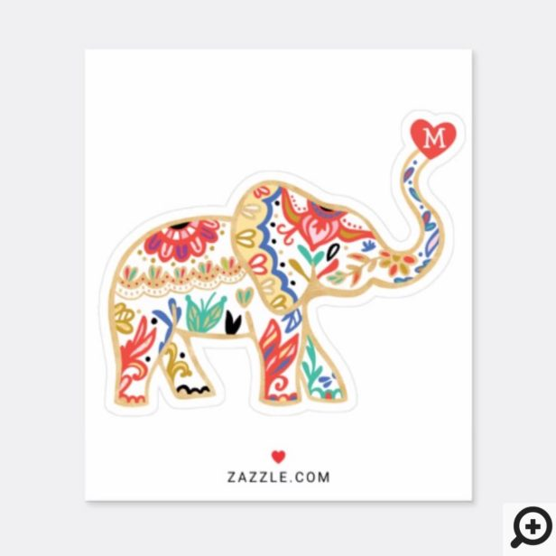 Decorative Elegant Elephant Ornate Florals Sticker