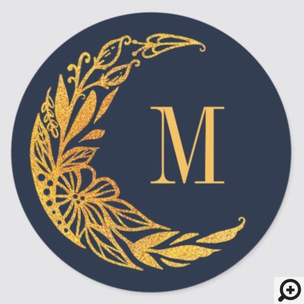 Elegant Gold Floral Garden Crescent Moon Monogram Classic Round Sticker