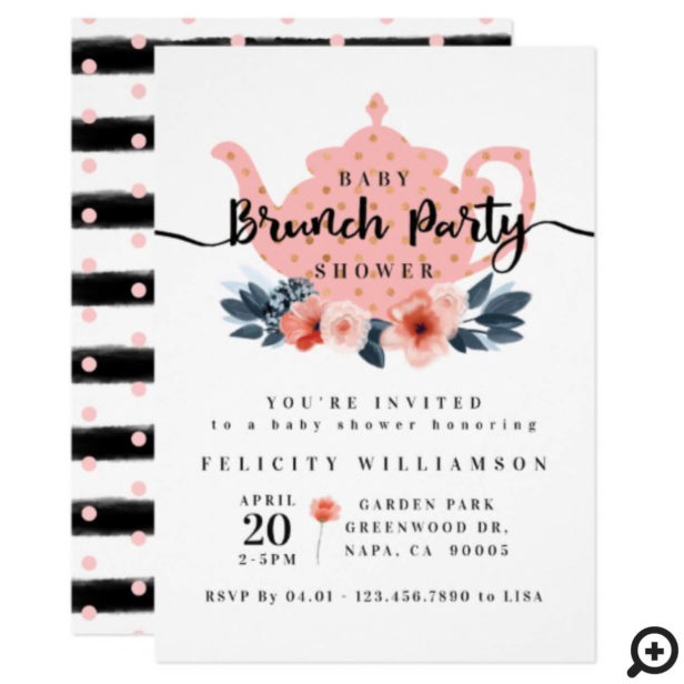 Floral Bunch Tea Party Blush Pink Baby Shower Invitation