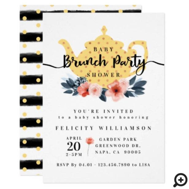 Floral Bunch Tea Party Yellow Baby Shower Invitation